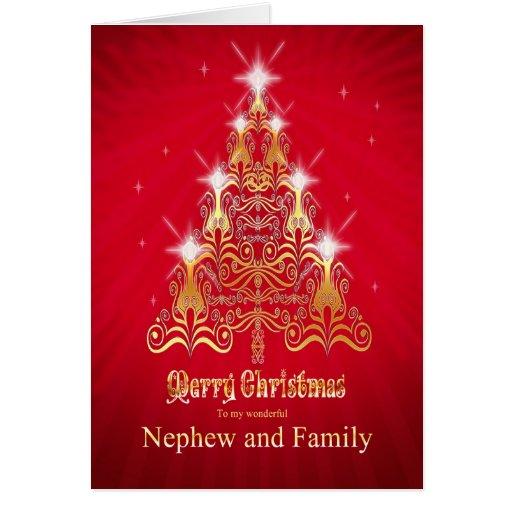 Nephew And Family Christmas Tree Christmas Card Zazzle