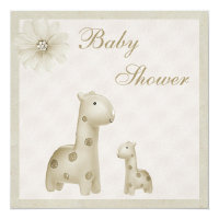 Neutral Mom & Baby Giraffes Vintage Baby Shower Card