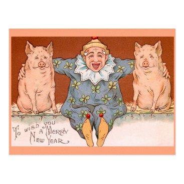 NEW YEAR clowns, pigs & good luck symbols Postcard