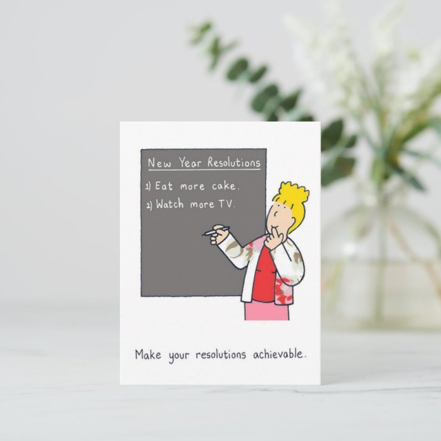 New Year Resolutions Humor, Cake and TV. Holiday Postcard