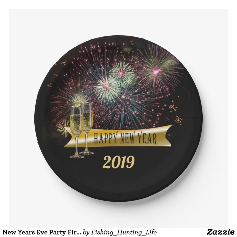 New Years Eve Party Fireworks Champagne Glasses Paper Plate