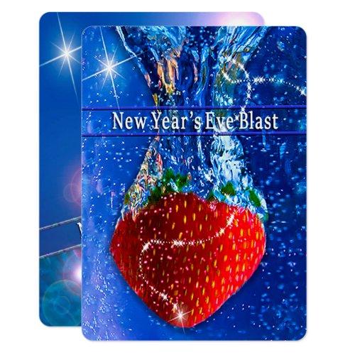 New Year's Eve Party Invitation, Strawberry Splash Invitation
