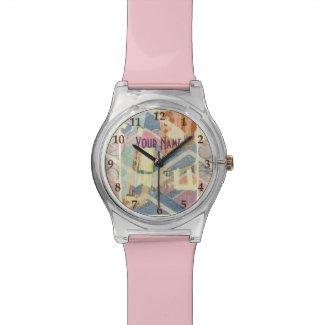 New York City Pastel Tones Times Square Art Deco Wristwatch