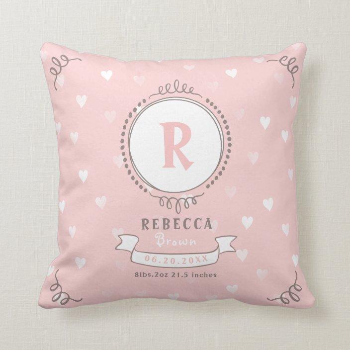 newborn girl personalized baby keepsakes monogram throw pillow zazzle com