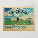 Newport Beach Save The Date California Surfing Announcement Postcard