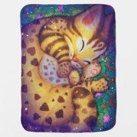 night night Leopard cat Stroller Blanket