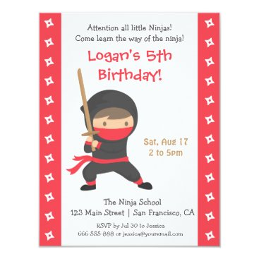 Ninja with Katana Kids Birthday Party Invitations