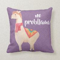 no probllama watercolor llamas throw pillow