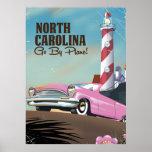 North Carolina Lighthouse travel poster