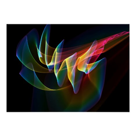 Northern Lights, Abstract Rainbow Aurora Colorful Poster