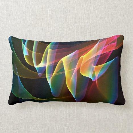 Northern Lights, Abstract Rainbow Aurora Lumbar Pillow