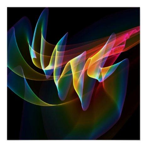Northern Lights, Abstract Rainbow Aurora Poster