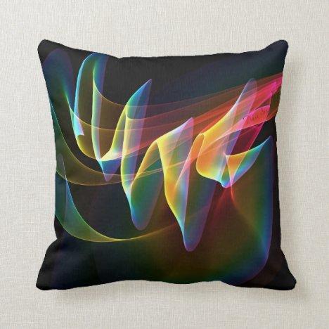 Northern Lights, Abstract Rainbow Aurora Throw Pillow