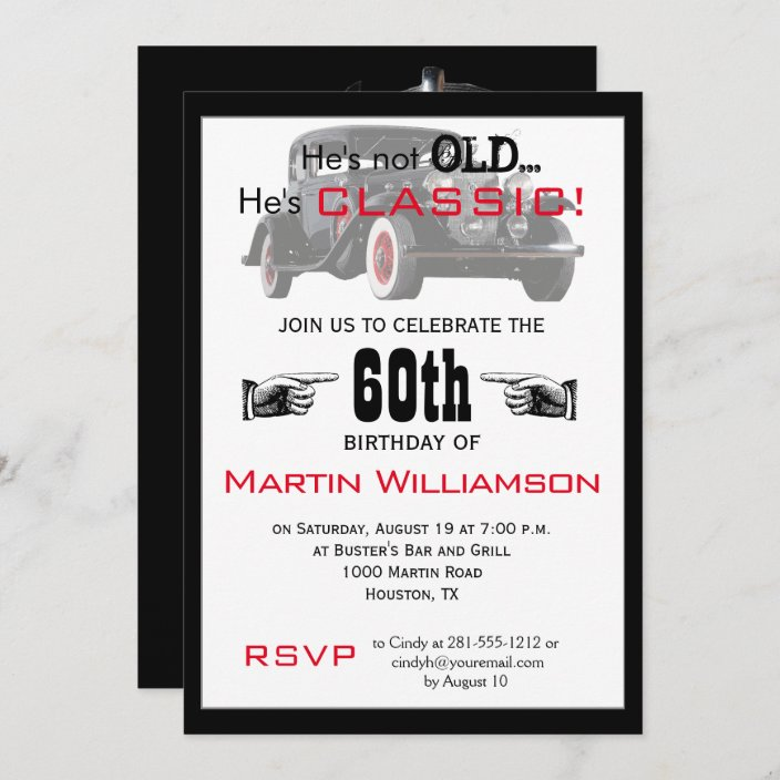 not old but classic car funny birthday party invitation zazzle com