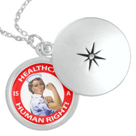 "Nurse ""Rosie"" says ""Healthcare is a Human Right!"" Locket Necklace"