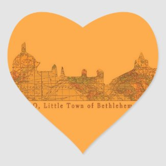 O Little Town of Bethlehem Heart Stickers