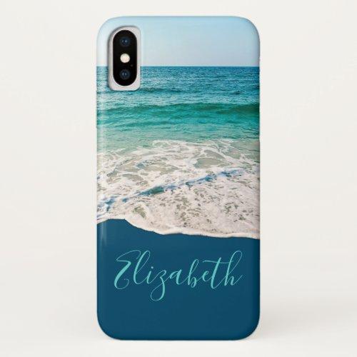 Ocean Beach Shore Personalized Blue iPhone XS Case