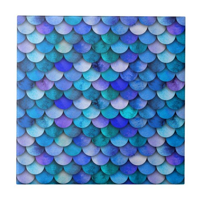 ocean blue and purple mermaid scales tile zazzle com