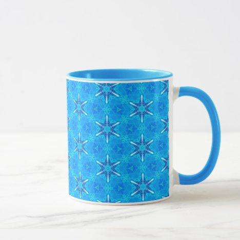 Ocean Compass, Snowflakes Dancing in Blue Mug