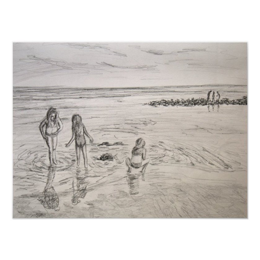 Ocean Discoveries Beach Day Pencil Art Drawing Poster