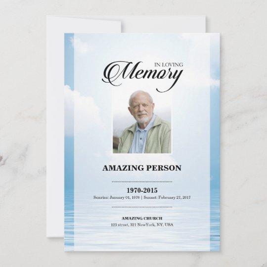 Ocean Funeral Prayer Card Template
