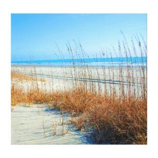 Ocean, Sand and Seagrass in North Myrtle Beach Canvas Print