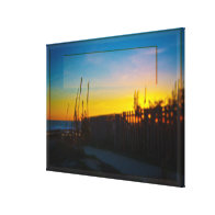 Ocean Sunrise Through Wooden Fence And Sea Oats Gallery Wrap Canvas