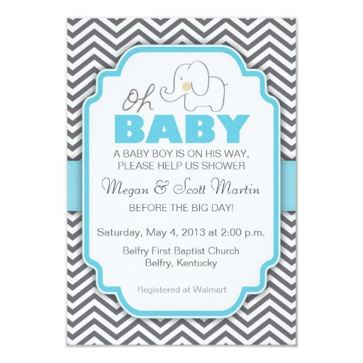 Oh Baby Elephant - Blue & Gray Baby Shower Invite 3.5