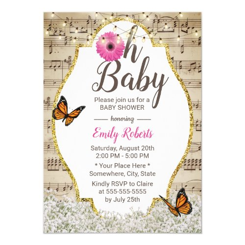 Oh Baby Shower Rustic Baby's Breath Floral Musical Invitation
