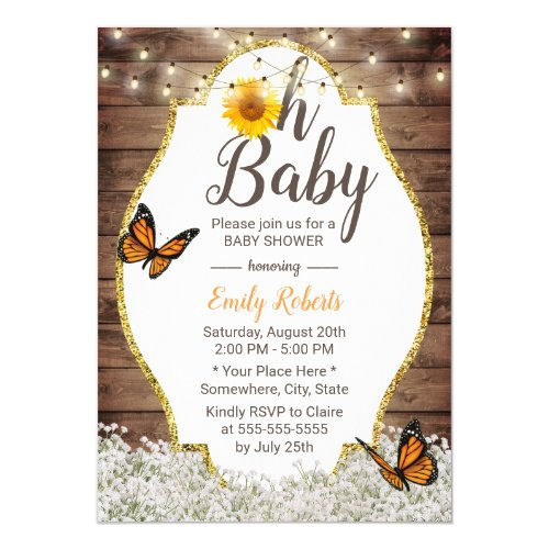 Oh Baby Shower Rustic Floral Sunflowers Butterfly Invitation