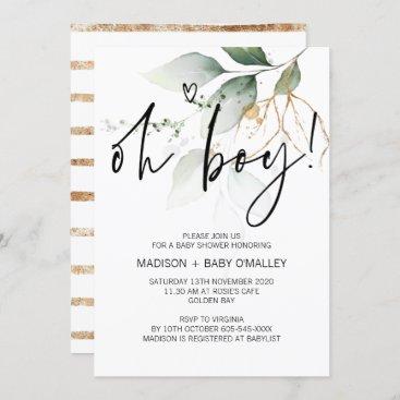 Oh Boy Baby Shower Party Modern Eucalyptus Invitation