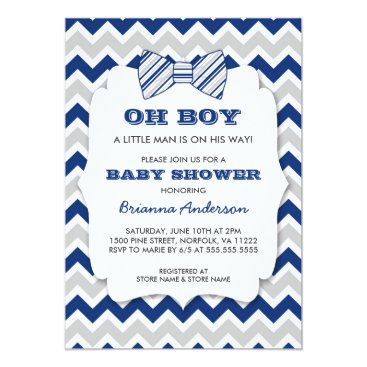 OH BOY Bow tie baby shower / navy gray chevron Card