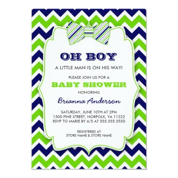 OH BOY Bow tie baby shower / navy green chevron Card
