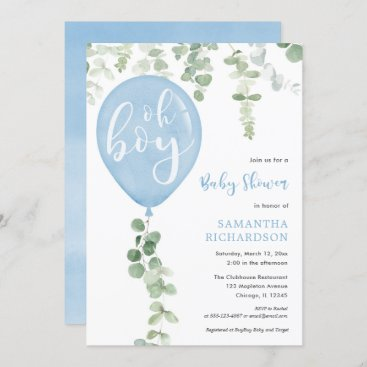 Oh boy modern eucalyptus blue balloons baby shower invitation