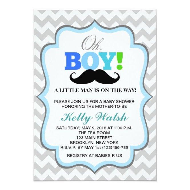 Oh Boy Mustache Baby Shower Invitations