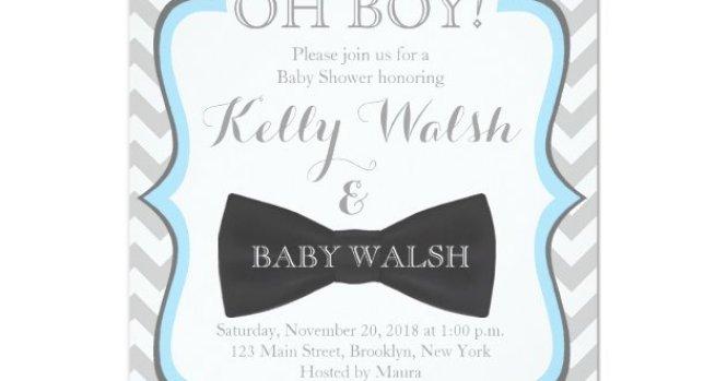 Oh Boy Mustache Baby Shower Invitations Chevron Zazzle Com
