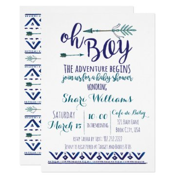 Oh Boy Tribal Baby Shower Invitation - TEAL CUSTOM