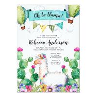 Oh La Llama Watercolor Baby Shower Fiesta Card