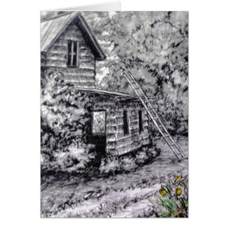 Old Building Barn Ladder Charcoal Drawing Greeting Cards