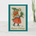 Old Fashioned Santa with Pack Christmas Card
