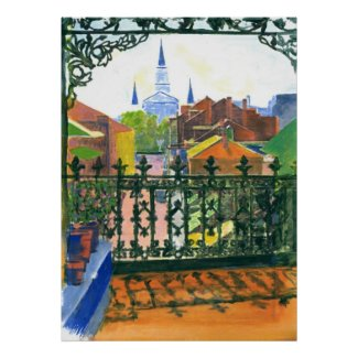 Old French Quarter Balcony New Orleans print