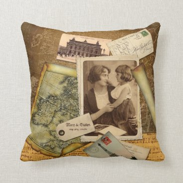 Old Map Postcard Paper Collage Vintage Photo Frame Throw Pillow