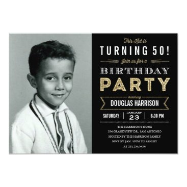 Old Photo Adult Birthday Party Invitations - Black