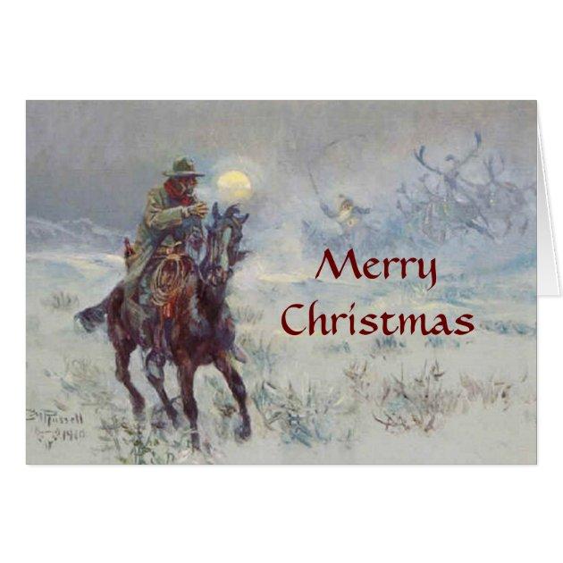 Old West Cowboy Sees Santa Christmas Card