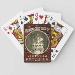 Old West Custom Photo Personalized Brown Wood Poker Deck