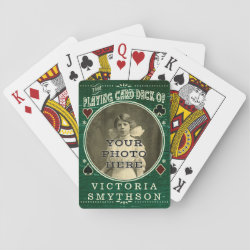 Old West Custom Photo Personalized Green Wood Poker Deck
