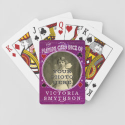 Old West Custom Photo Personalized Purple Wood Poker Deck