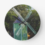 Old Windmill Round Wall Clock