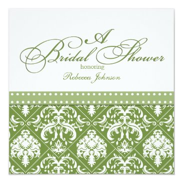Olive Green and White Damask Bridal Shower Card