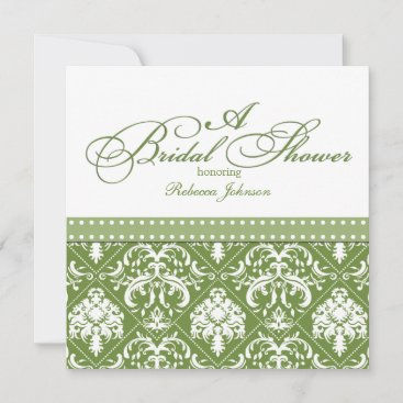 Olive Green and White Damask Bridal Shower Invitation
